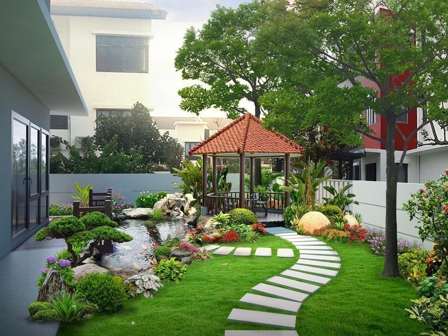 Thảm cỏ nhân tạo trang trí sân vườn đẹp