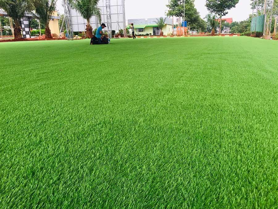 trang trí thảm cỏ nhân tạo sân vườn đẹp
