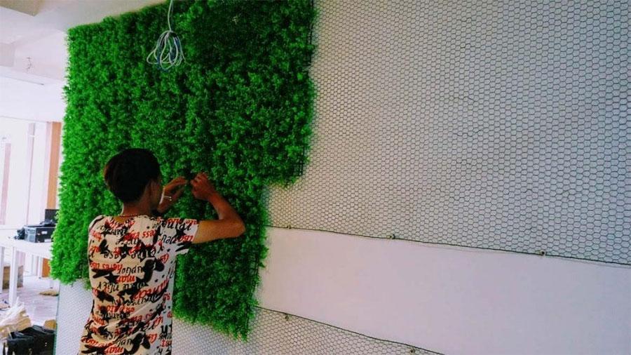 Thi công cỏ nhựa dán tường